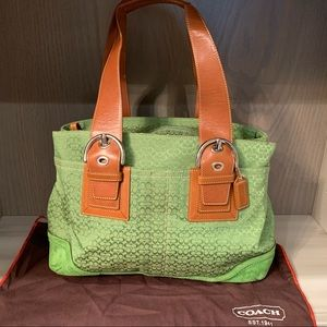Coach soho large signature leather/suede tote